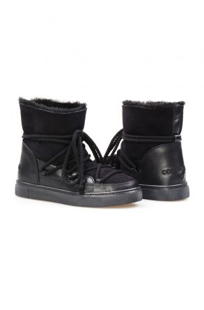 Cool Moon Genuine Suede Shearling Lined Women's Sneaker 355050 Black