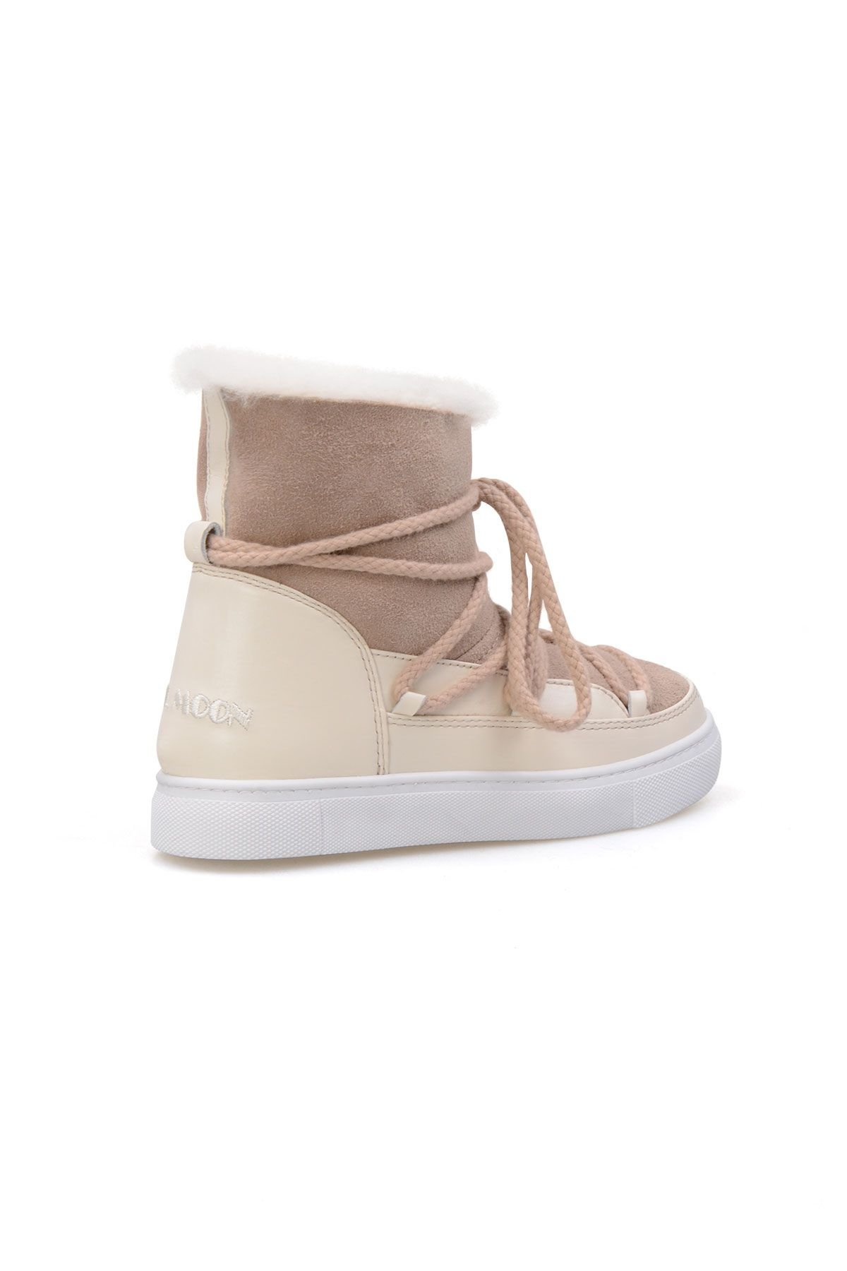 Cool Moon Hakiki İçi Kürk Bayan Sneaker 355050 Bej