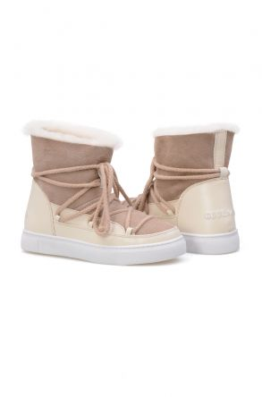 Cool Moon Genuine Suede Shearling Lined Women's Sneaker 355050 Beige