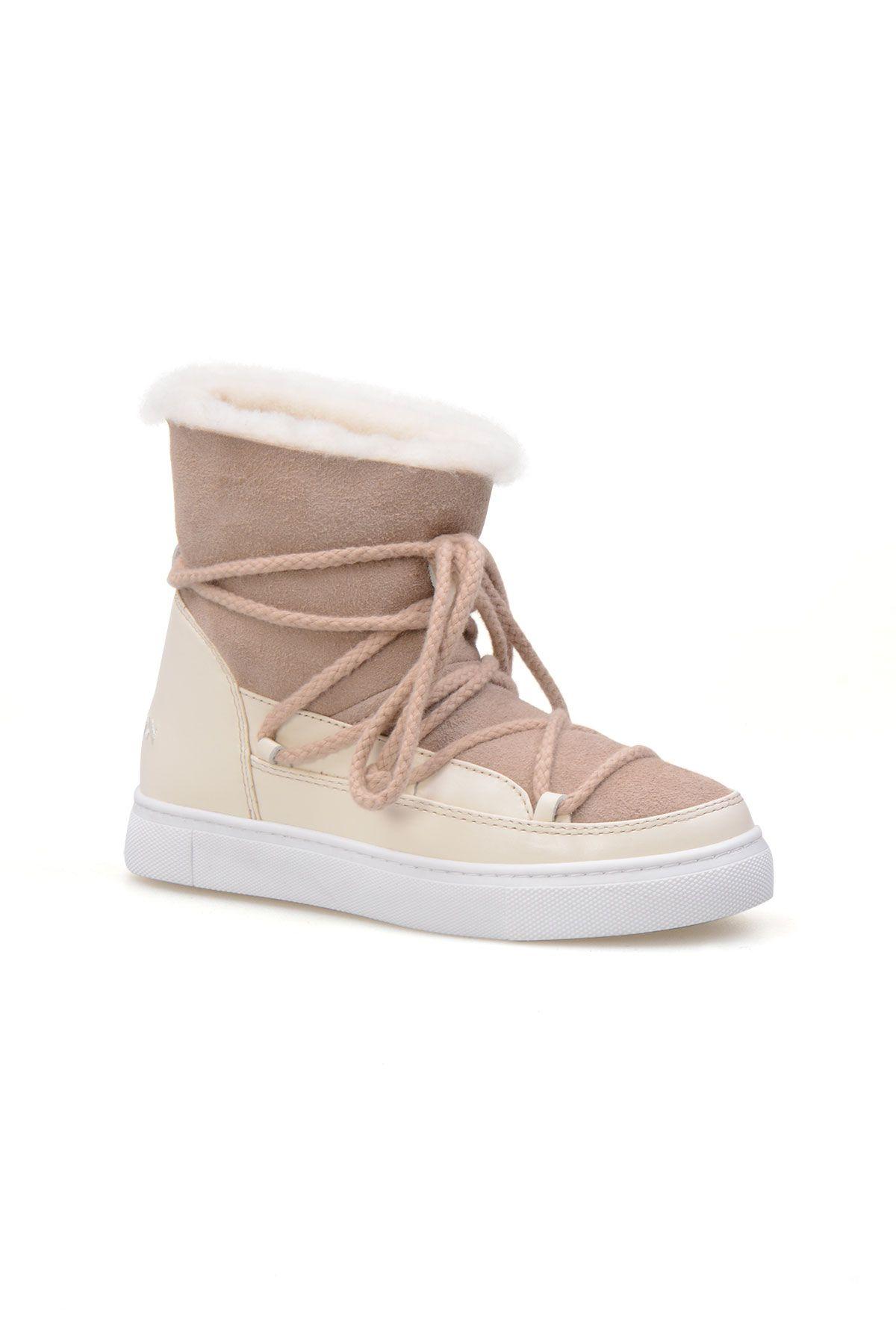 Cool Moon Genuine Suede Shearling Lined Women's Sneaker 355050 Beige