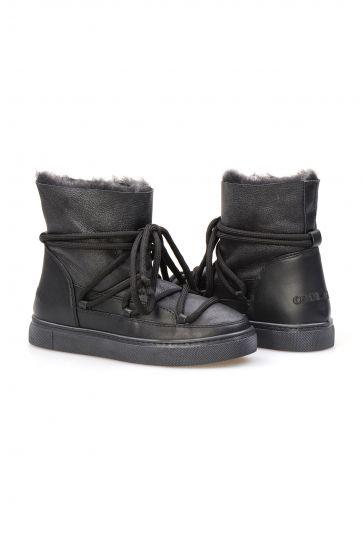 Cool Moon Hakiki İçi Kürk Bayan Sneaker 355056 Siyah