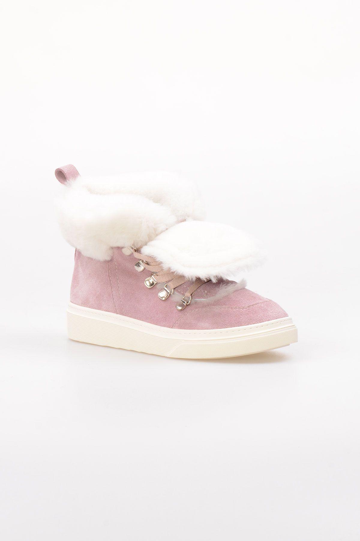 Pegia Hakiki Süet İçi Kürk Bayan Sneaker NY2039 Mor