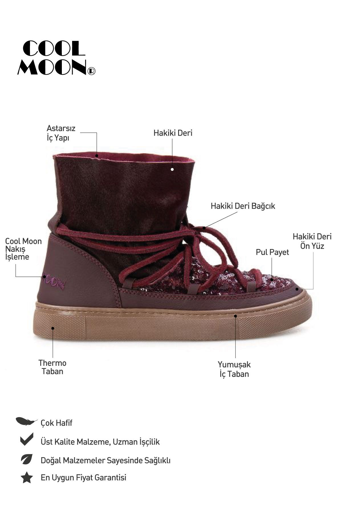 Cool Moon Genuine Leather Women Sneaker CM1019 Claret red