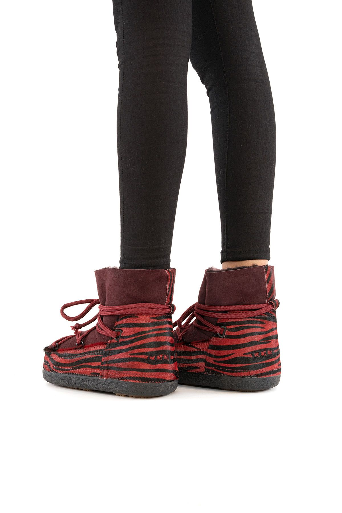 Cool Moon Genuine Leather Sheepskin Lined Women's Snow Boots 251101 Claret red
