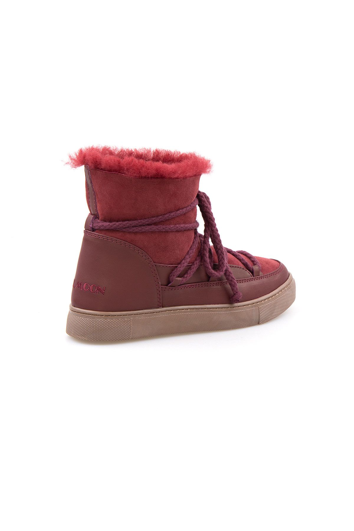 Cool Moon Genuine Suede Shearling Lined Women's Sneaker 355050 Claret red