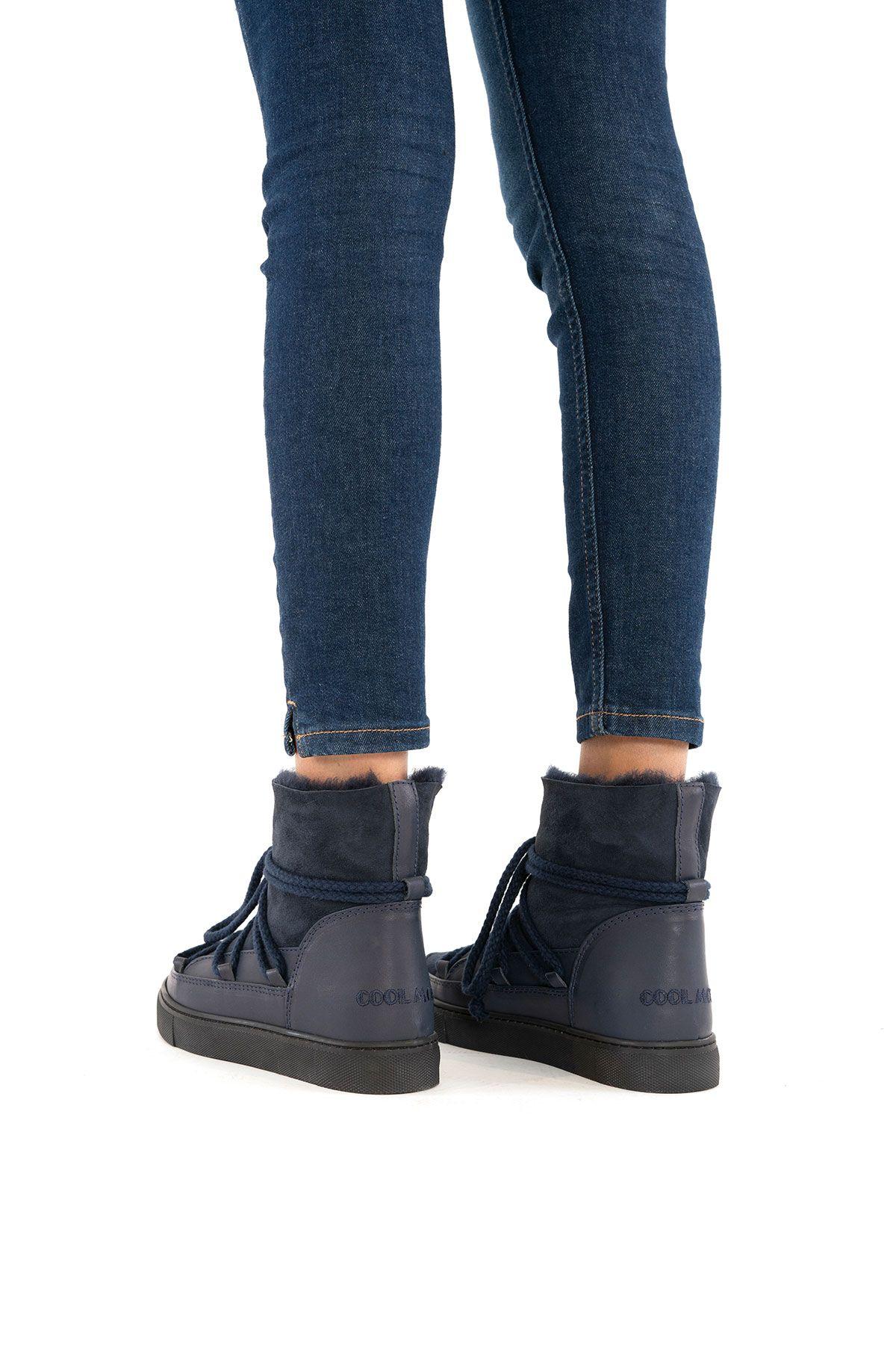 Cool Moon Hakiki İçi Kürk Bayan Sneaker 355050 Lacivert