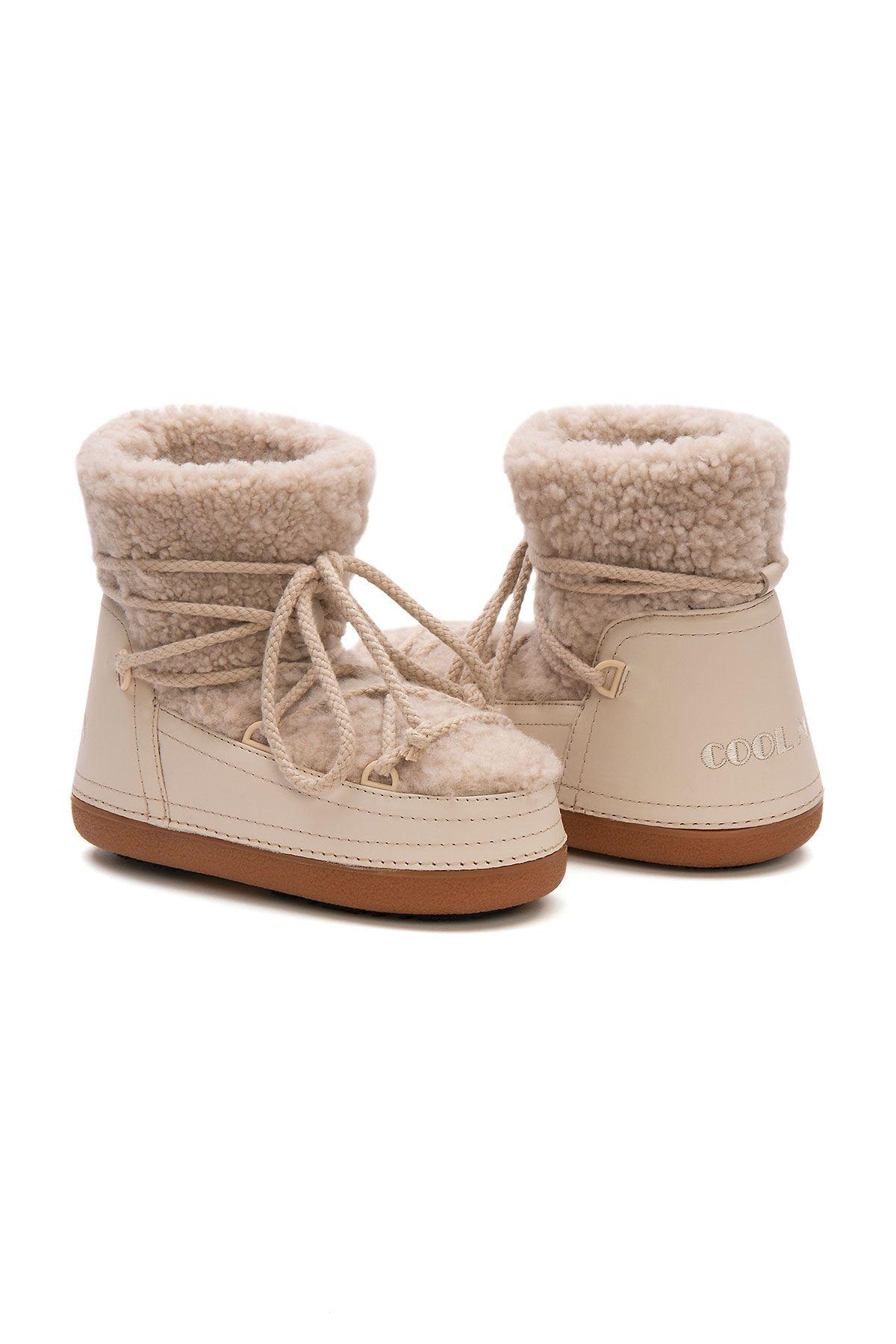 Cool Moon Genuine Sheepskin Women's Snow Boots 251211 Beige