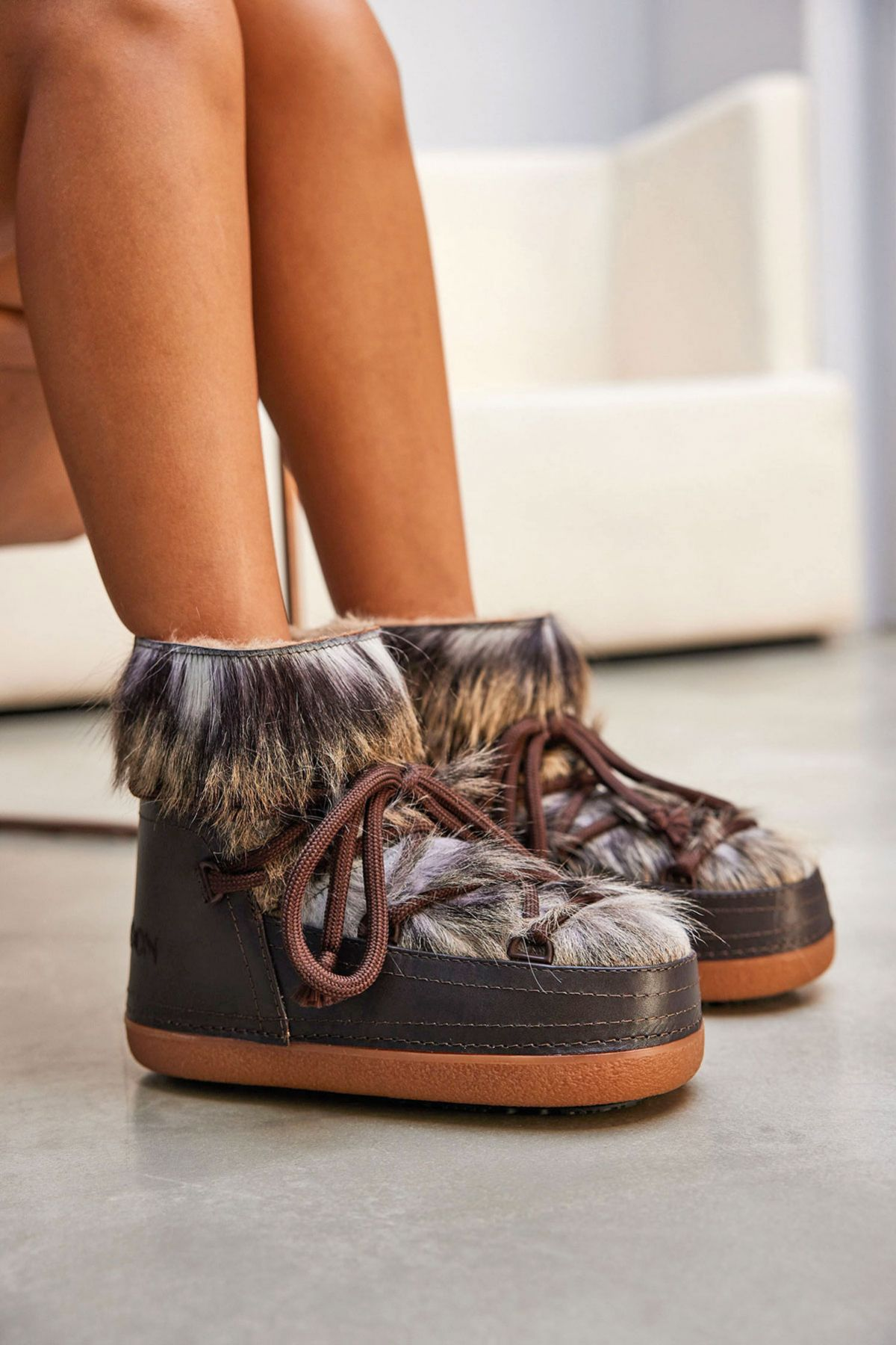 Cool Moon Genuine Sheepskin Women's Snow Boots 251316 Brown