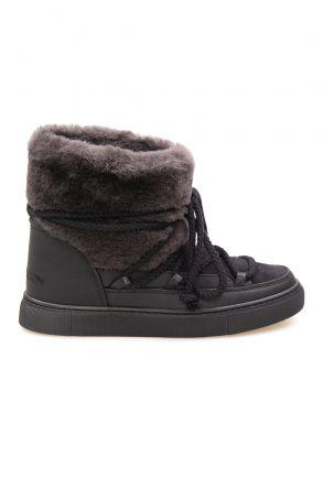 Cool Moon Hakiki Kürklü Kadın Sneakers 355061 Siyah