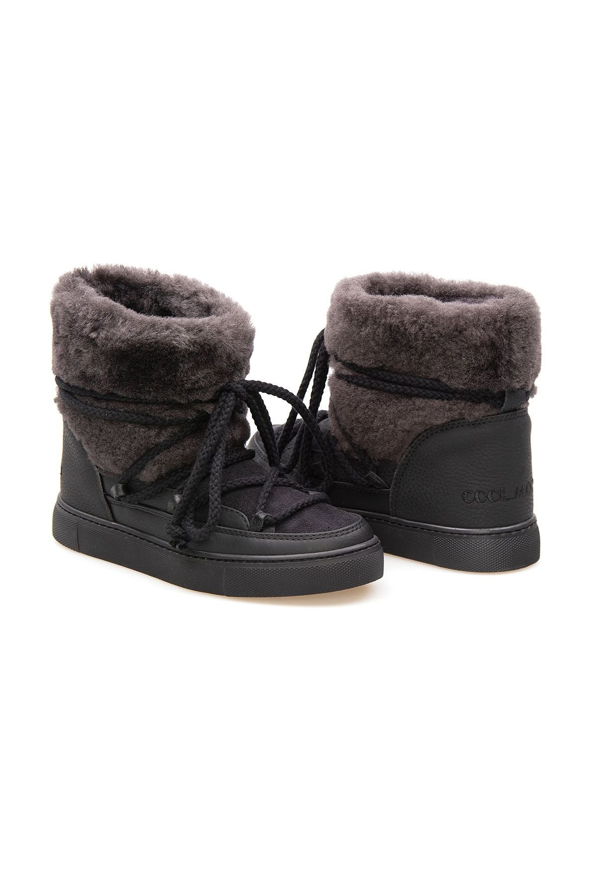 Cool Moon Genuine Sheepskin Women's Sneakers 355061 Black