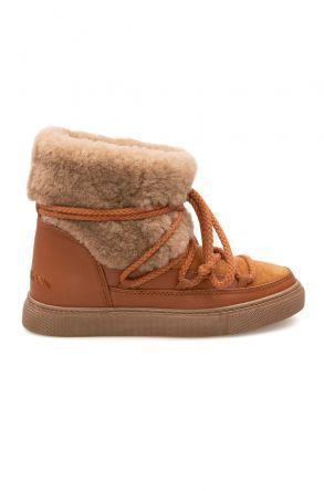Cool Moon Hakiki Kürklü Kadın Sneakers 355061 Taba