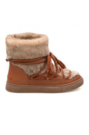 Cool Moon Hakiki Kürklü Kadın Sneakers 355062 Taba