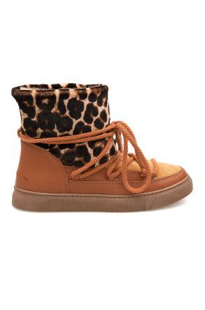Cool Moon Hakiki Kürklü Kadın Sneakers 355063 Taba
