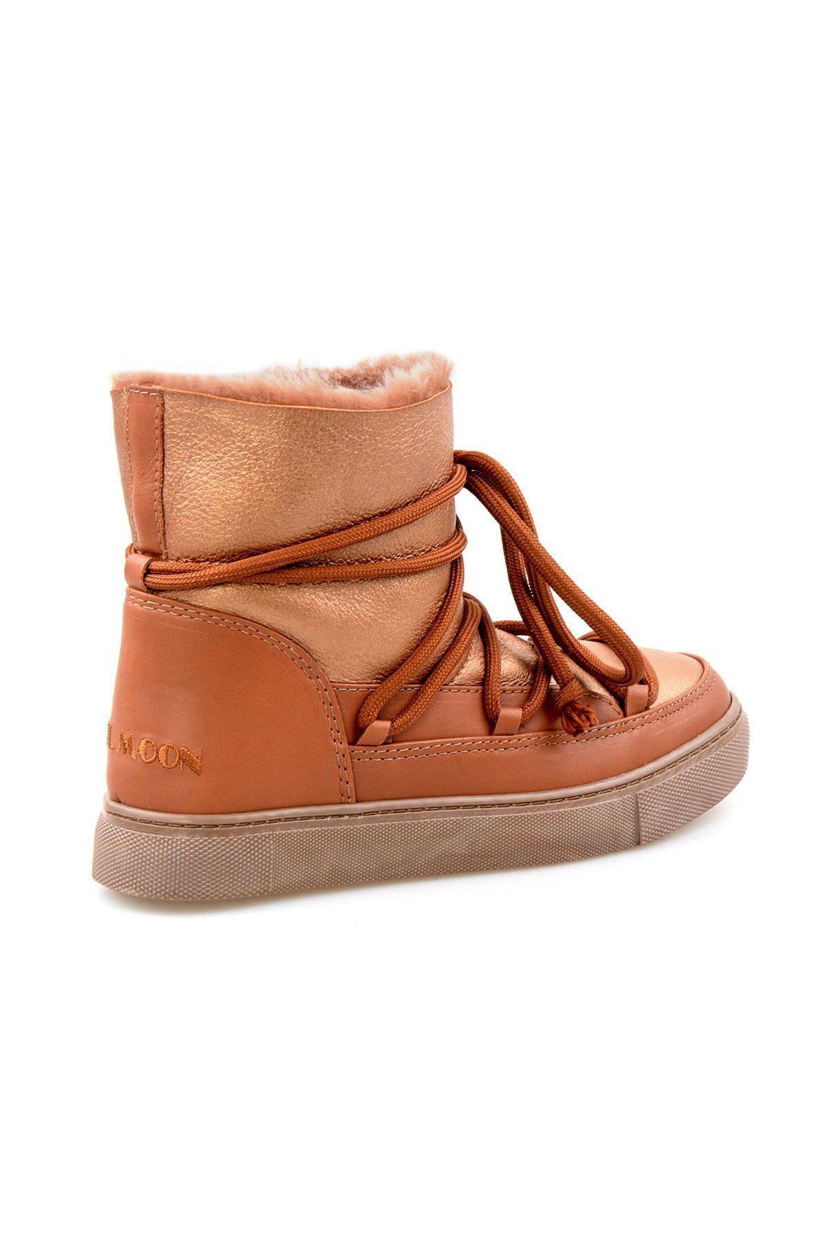 Cool Moon Hakiki Kürklü Kadın Sneakers 355108 Taba