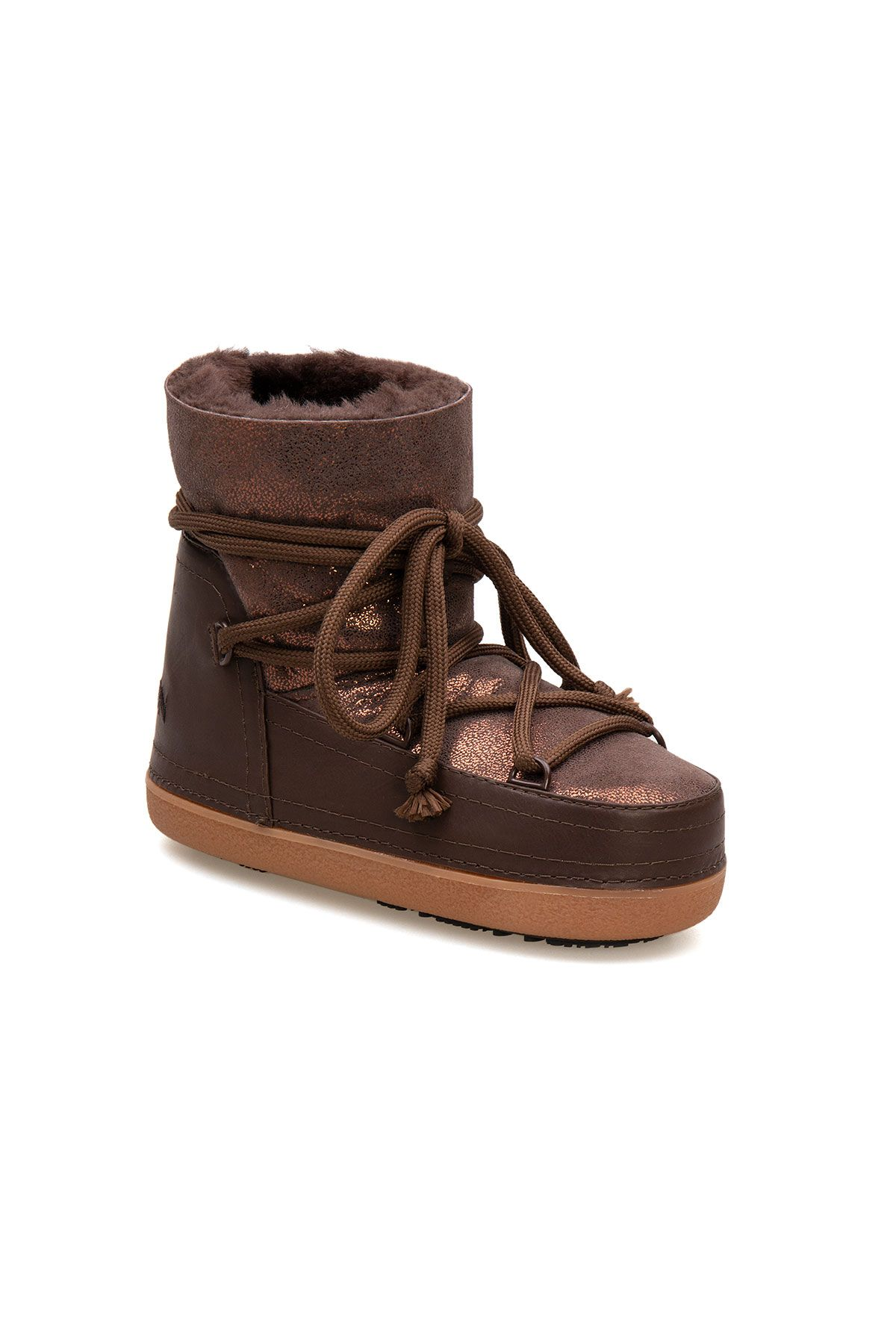 Cool Moon Genuine Sheepskin Women's Snow Boots 251308 Brown