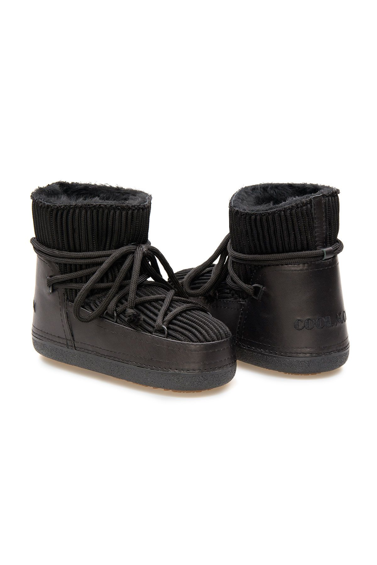 Cool Moon Genuine Sheepskin Lined Women's Snow Boots 251309 Black