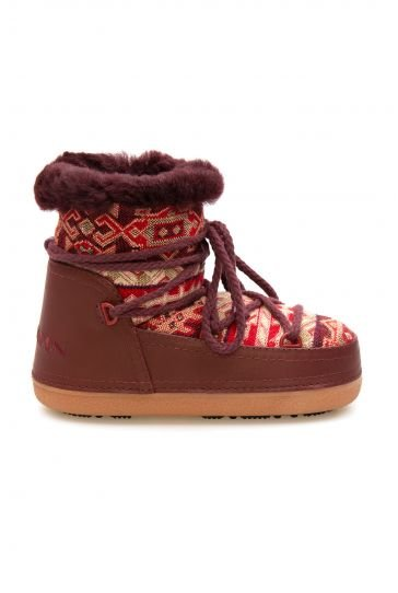 Cool Moon Genuine Sheepskin Lined Women's Snow Boots 251312 Claret red