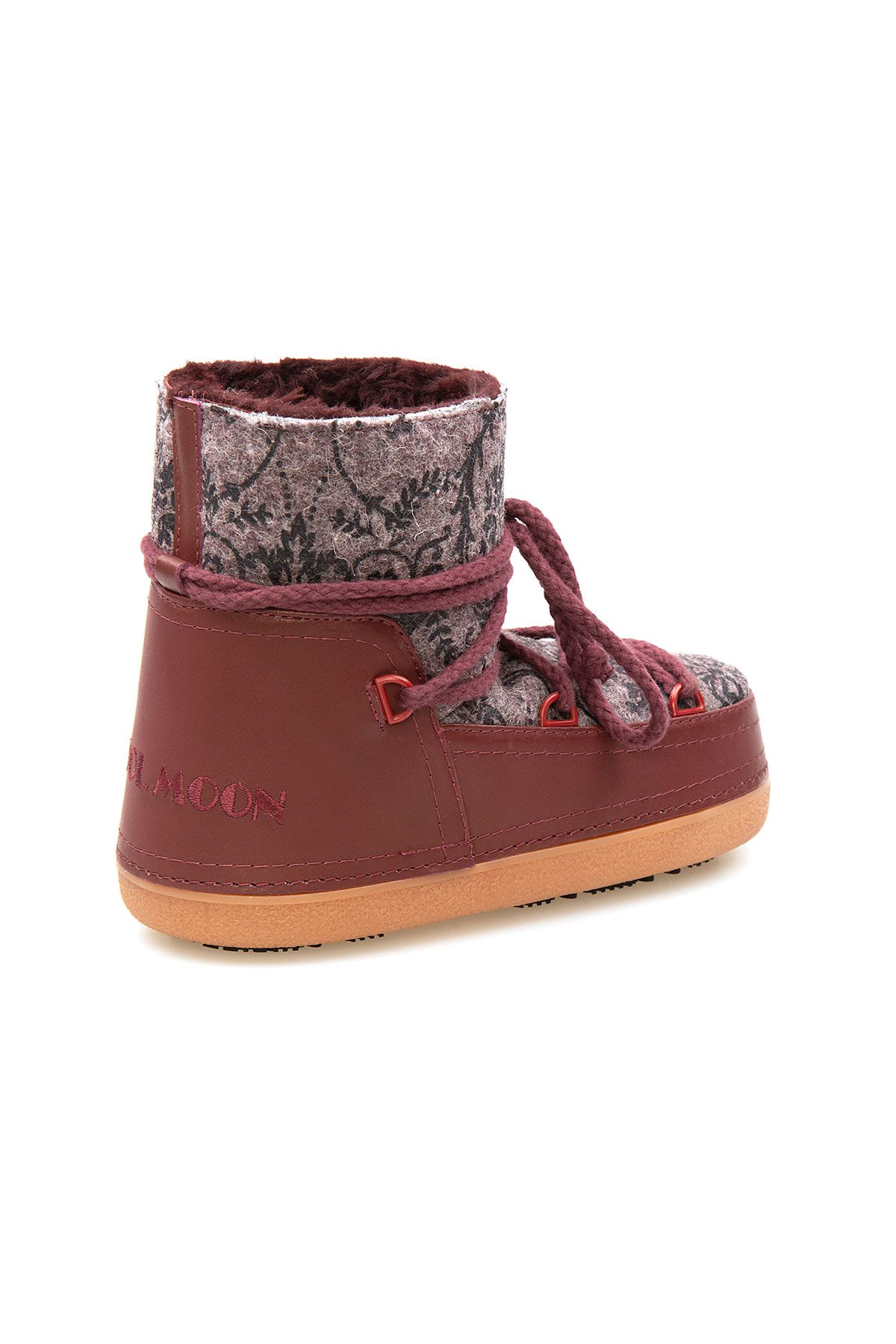 Cool Moon Genuine Sheepskin Lined Women's Snow Boots 251313 Claret red