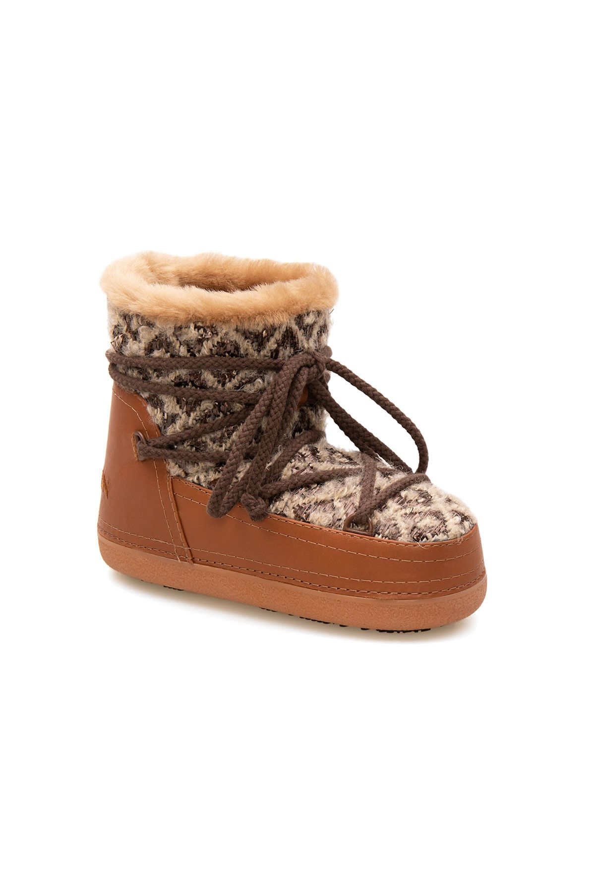 Cool Moon Genuine Sheepskin Lined Women's Snow Boots 251314 Ginger