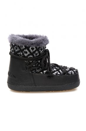 Cool Moon Genuine Sheepskin Lined Women's Snow Boots 251314 Black