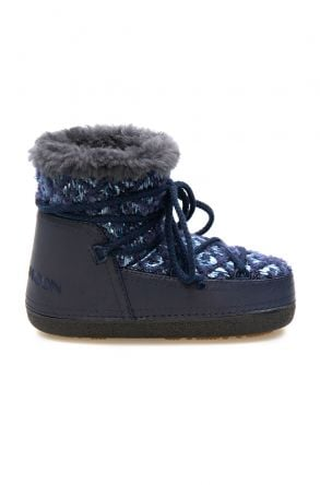 Cool Moon Genuine Sheepskin Lined Women's Snow Boots 251314 Navy blue