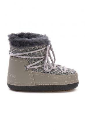 Cool Moon Genuine Sheepskin Lined Women's Snow Boots 251315 Gray
