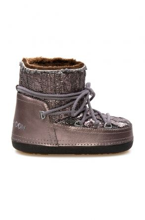 Cool Moon Genuine Sheepskin Lined Women's Snow Boots 251320 Anthracite-colored