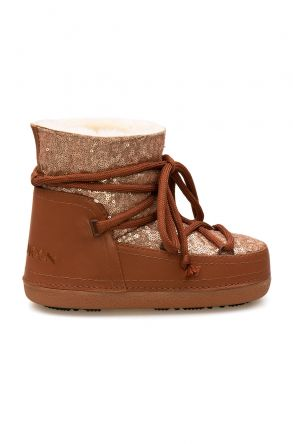 Cool Moon Sheepskin Women's Snow Boots With Sequin 251321 Ginger