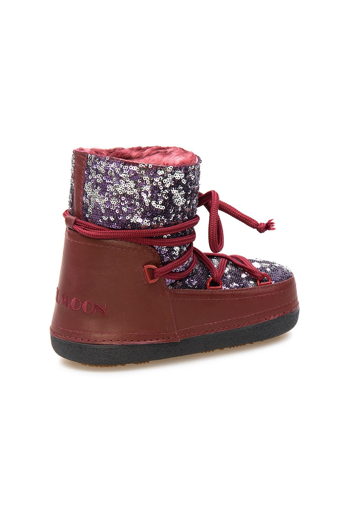 Cool Moon Sheepskin Women's Snow Boots With Sequin 251321 Claret red