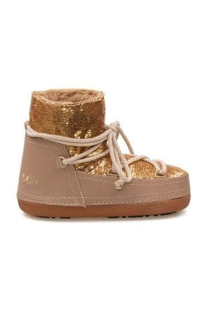 Cool Moon Sheepskin Women's Snow Boots With Sequin 251321 Yellow