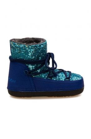 Cool Moon Sheepskin Women's Snow Boots With Sequin 251321 Turquoise
