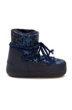 Cool Moon Sheepskin Women's Snow Boots With Sequin 251321 Navy blue