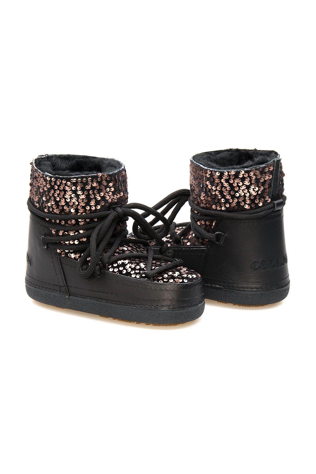 Cool Moon Sheepskin Women's Snow Boots With Sequin 251322 Bronze