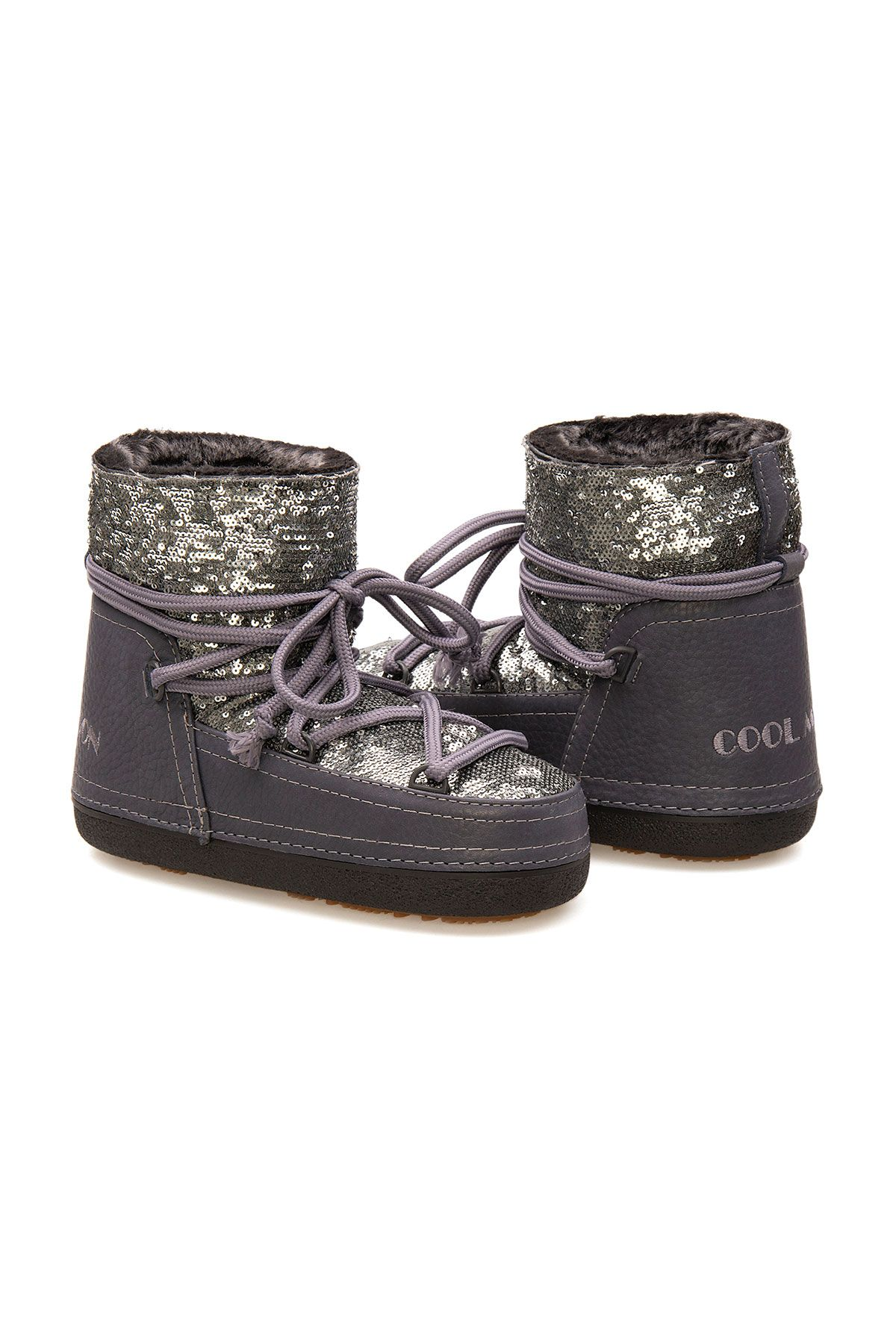 Cool Moon Sheepskin Women's Snow Boots With Sequin 251325 Gray