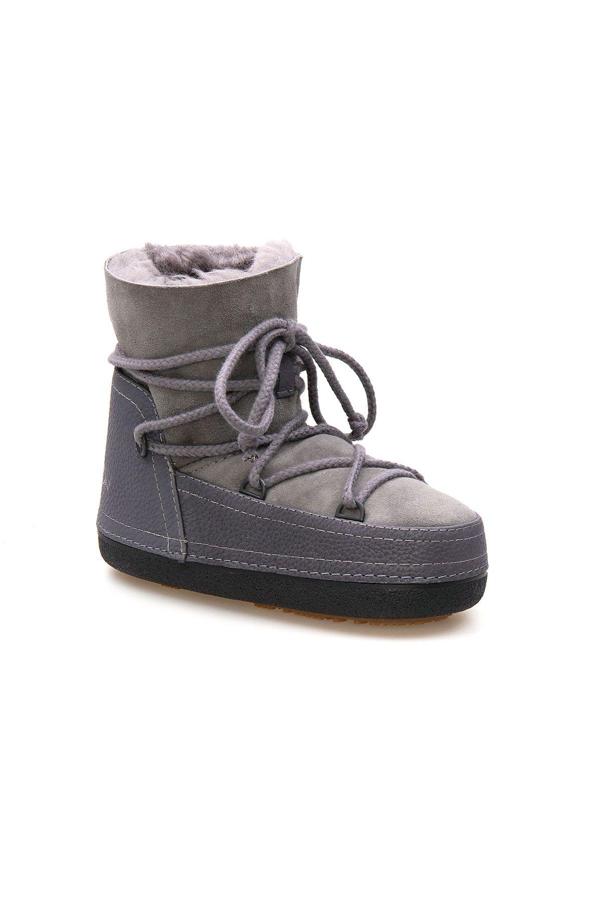 Cool Moon Genuine Sheepskin Women Snow Boots 251326 Gray