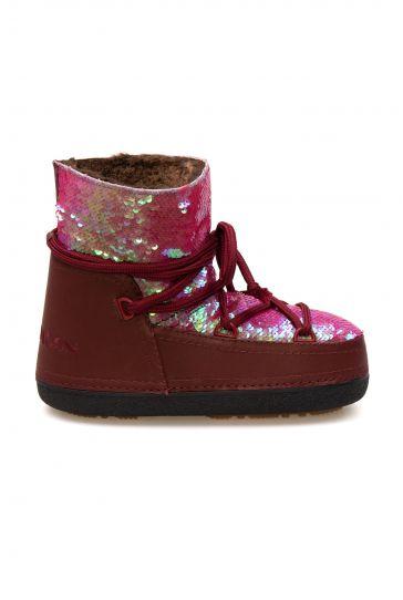 Cool Moon Women's Sheepskin Snow Boots 251330 Claret red