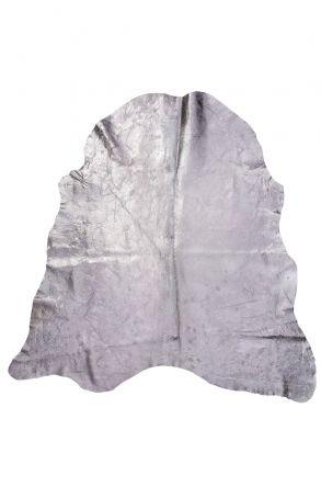 Erdogan Deri Genuine Calfskin Rug With Bronze Powder Cover DH0123 Silver