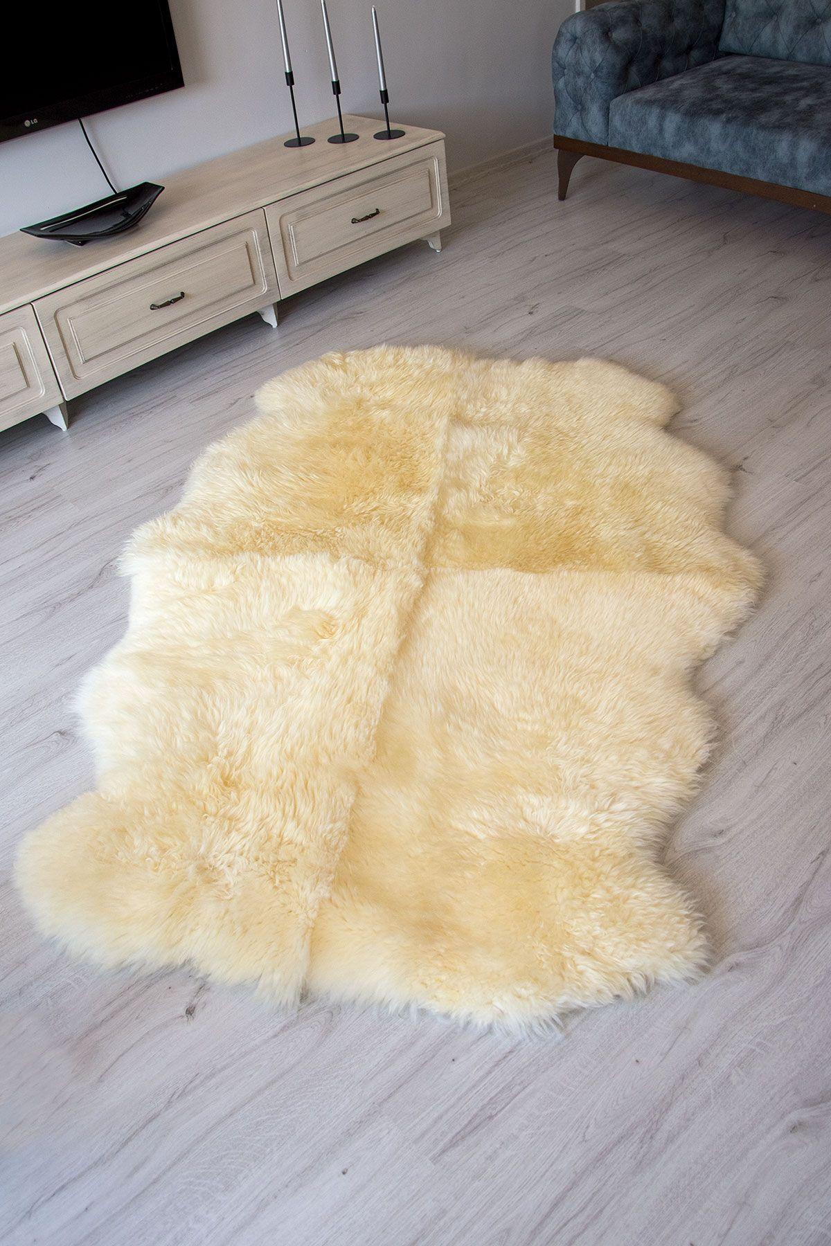 Erdogan Deri Quadruple Sheepskin Rug DKR083 White