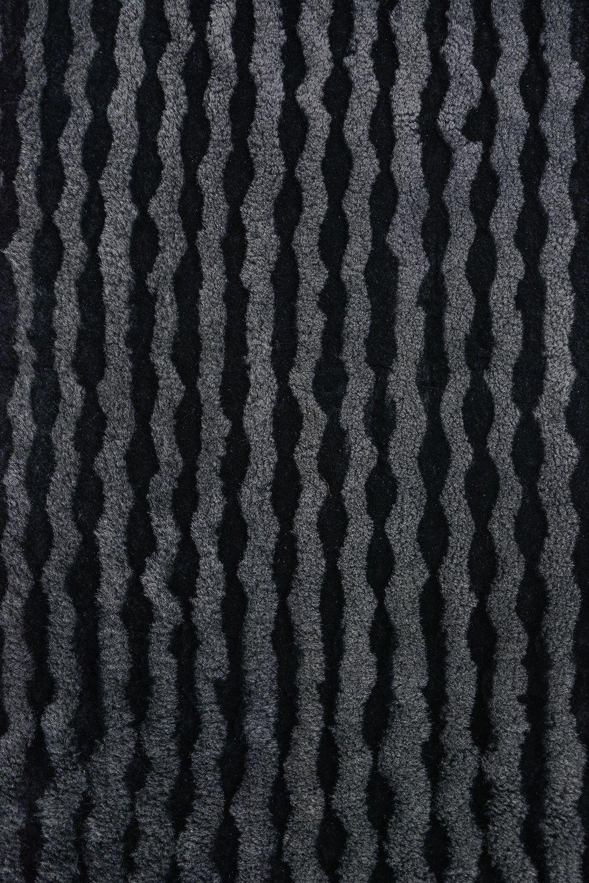 Erdoğan Deri Genuine Leather Natural Embossed Sheepskin Rug DKR061 Black