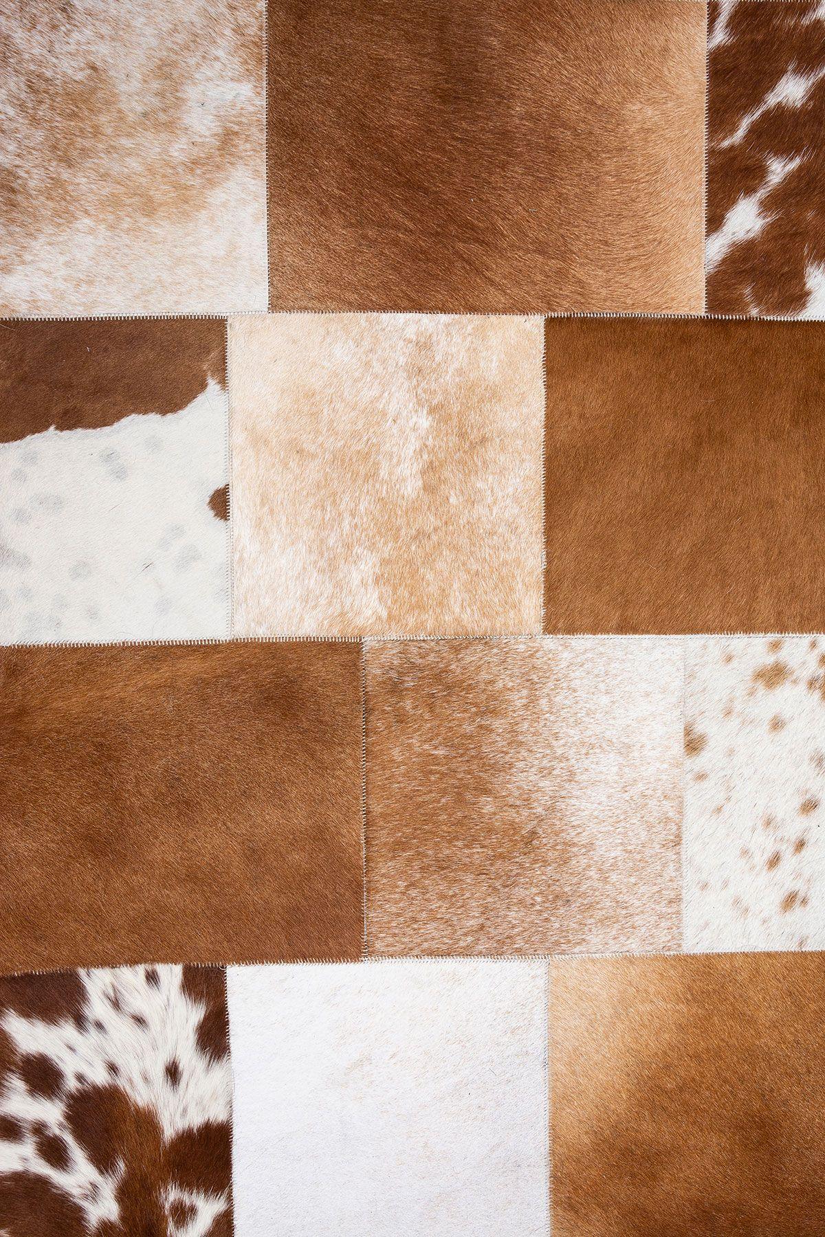 Erdogan Deri Patchwork Genuine Calfskin Carpet DH0107 Brown