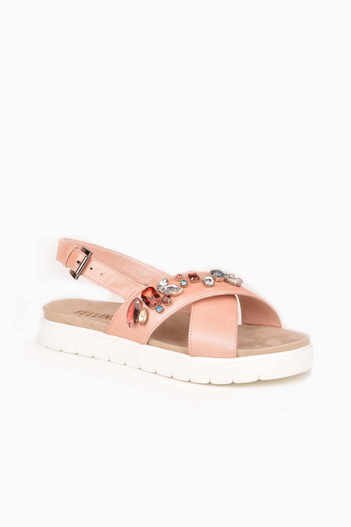 FLN Cross Stone Hakiki Deri Taşlı Bayan Sandalet Pink