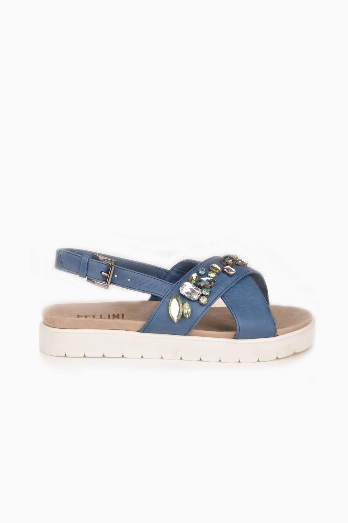 FLN Cross Stone Hakiki Deri Taşlı Bayan Sandalet Blue