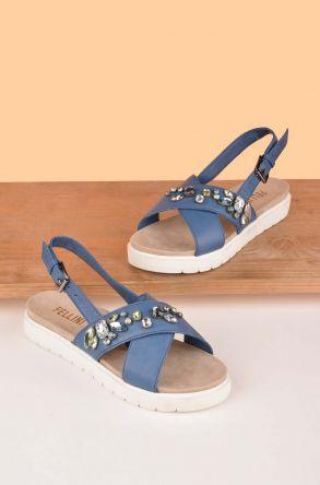 FLN Cross Stone Hakiki Deri Taşlı Bayan Sandalet Mavi