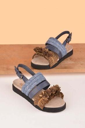 FLN Flower Hakiki Deri Bayan Sandalet Blue