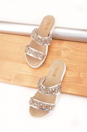 FLN Glamour Hakiki Deri Taşlı Bayan Terlik Gümüş