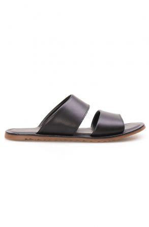 Florra Genuine Leather Men Slippers 203125 Black