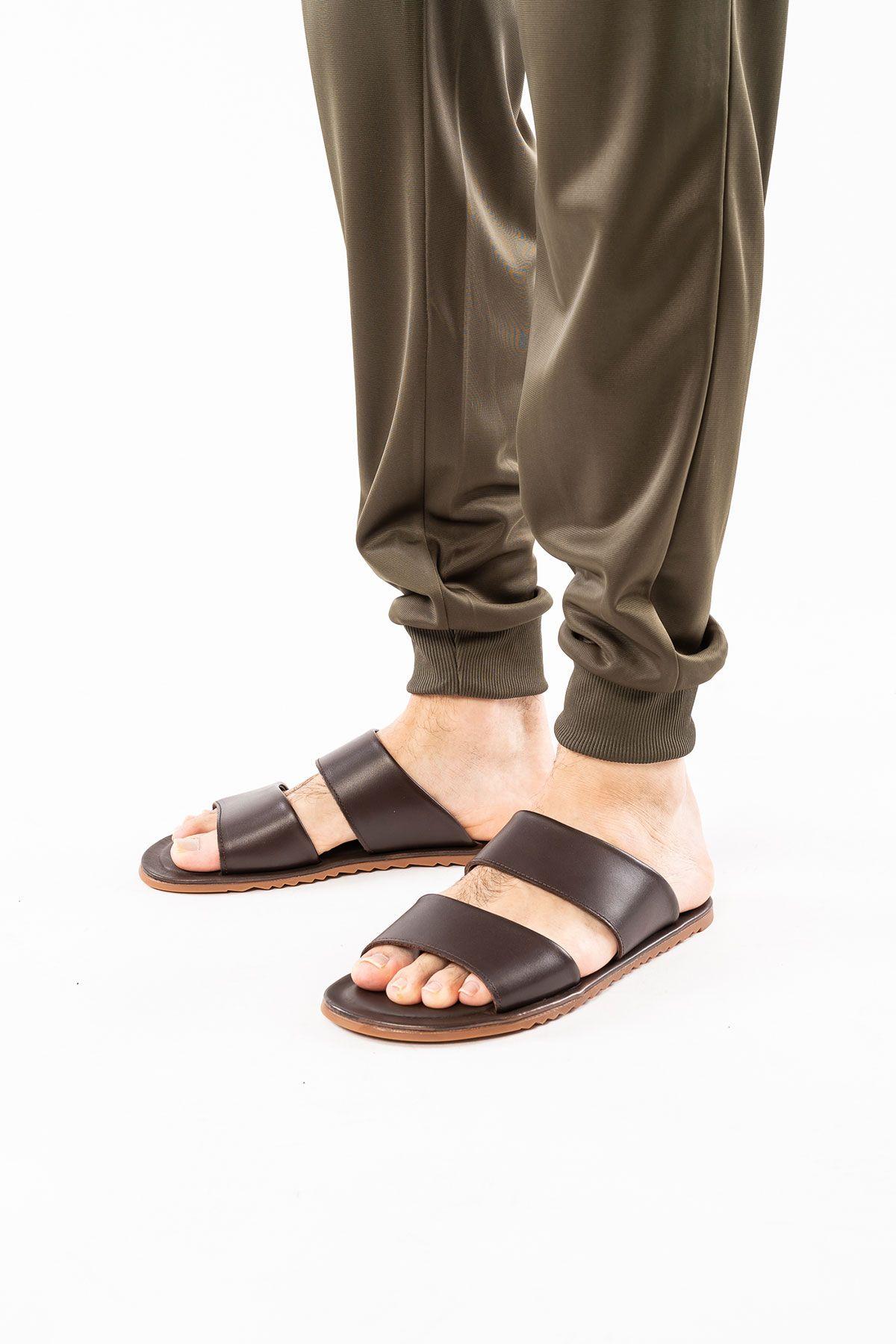 Florra Genuine Leather Men Slippers 203125 Brown