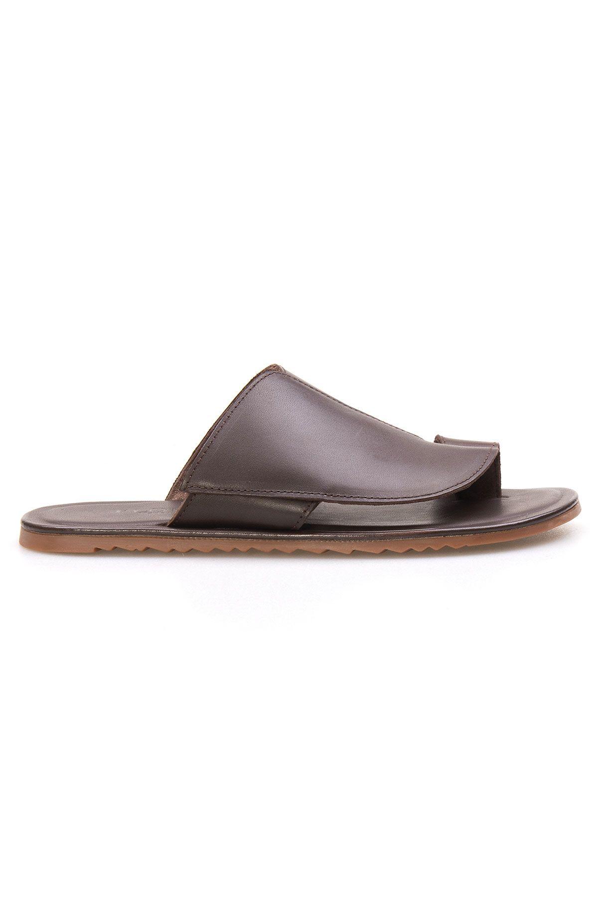 Florra Genuine Leather Men Slippers 203126 Brown
