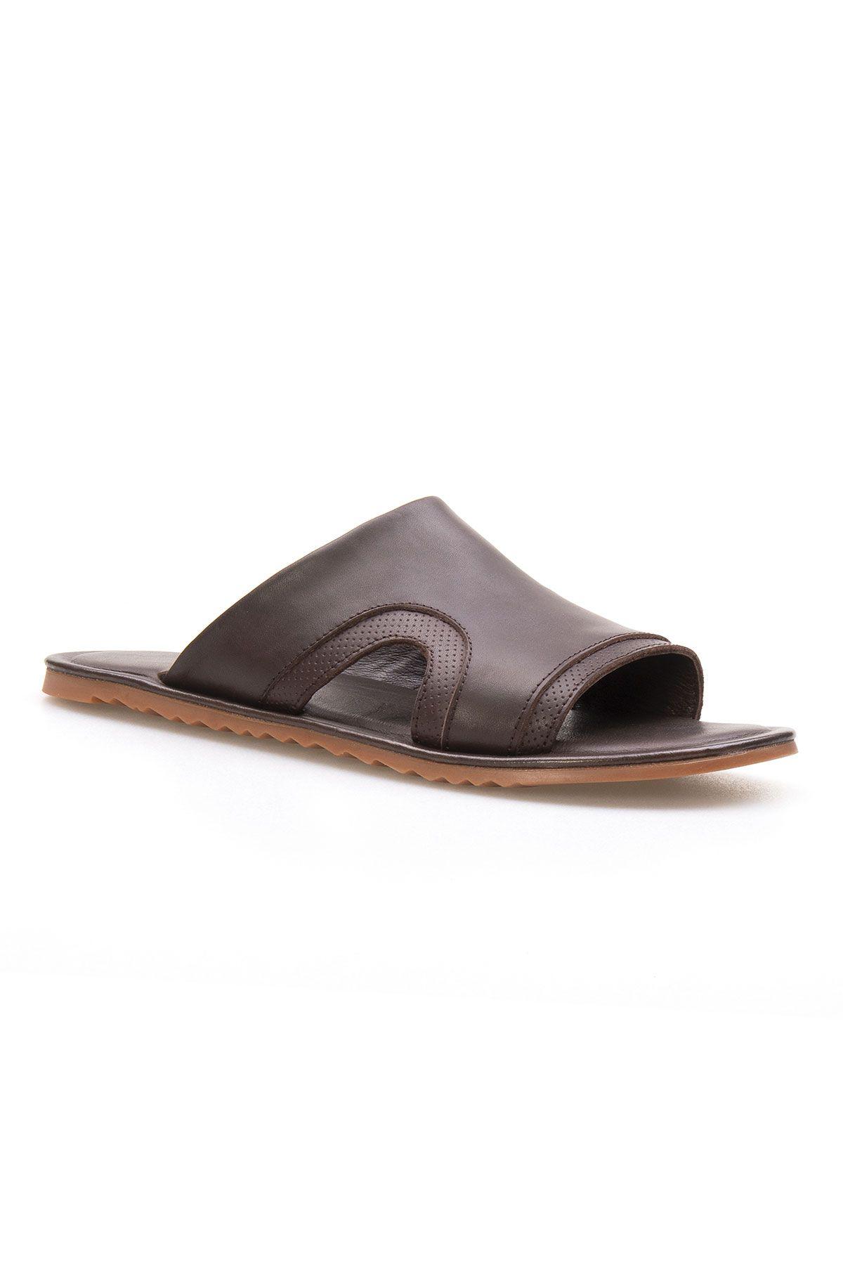 Florra Genuine Leather Men Slippers 203120 Brown