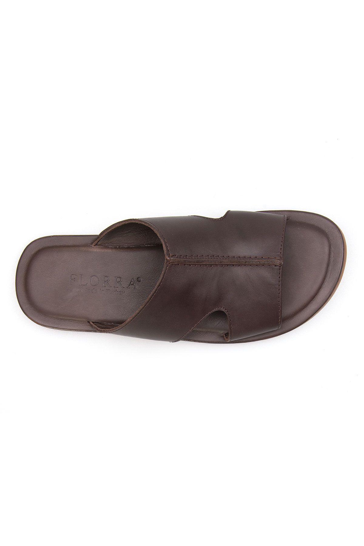 Florra Genuine Leather Men Slippers 203121 Brown